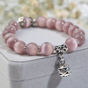 Jewelry - Natural Opal Bead Bracelet StainlessSteel Charm